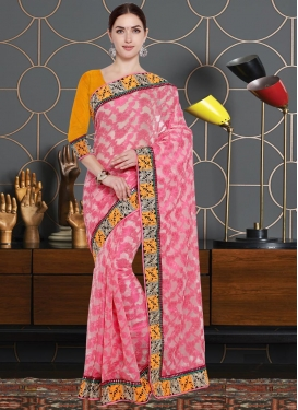 Off White and Pink Lace Work Net Contemporary Saree