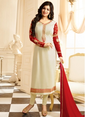 Off White and Red Ayesha Takia Trendy Salwar Kameez