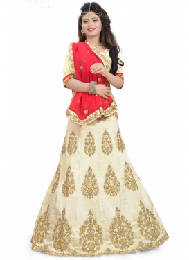 Off White and Red Booti Work A - Line Lehenga