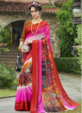Off White and Red Classic Saree