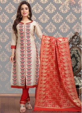 Off White and Red Cotton Silk Churidar Salwar Kameez