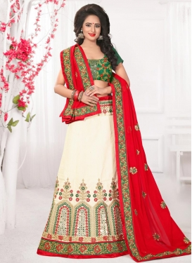 Off White and Red  Designer A Line Lehenga Choli