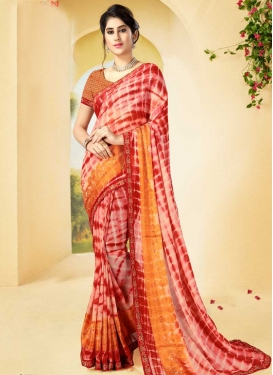 Off White and Red Digital Print Work Classic Saree