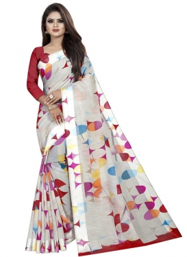 Off White and Red Digital Print Work Designer Contemporary Style Saree