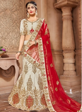 Off White and Red Silk A - Line Lehenga