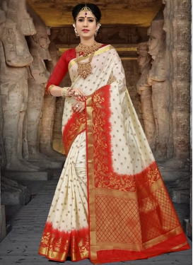 Off White and Red Thread Work Contemporary Style Saree