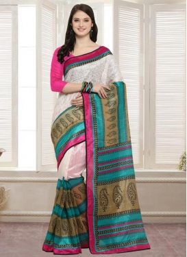 Off White and Rose Pink Bhagalpuri Silk Traditional Saree