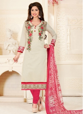 Off White and Rose Pink Chanderi Cotton Trendy Churidar Salwar Kameez