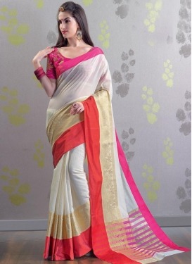 Off White and Rose Pink Embroidered Work Trendy Saree