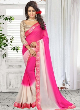 Off White and Rose Pink Faux Georgette Trendy Classic Saree
