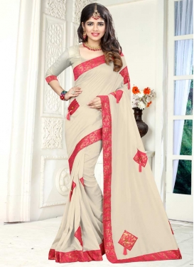 Off White and Rose Pink Lace Work Contemporary Style Saree