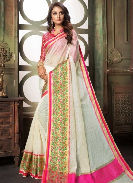 Off White and Rose Pink Thread Work Trendy Classic Saree
