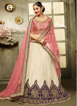 Off White and Salmon Designer Classic Lehenga Choli