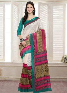 Off White and Sea Green  Bhagalpuri Silk Traditional Saree