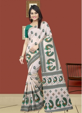 Off White and Sea Green Classic Saree For Casual