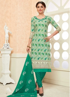 Off White and Sea Green Cotton Churidar Salwar Suit