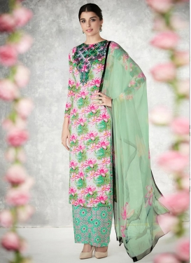 Off White and Sea Green Cotton  Palazzo Straight Salwar Kameez For Festival