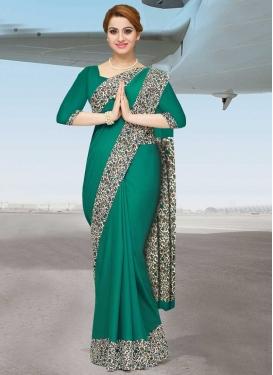 Off White and Sea Green Crepe Silk Designer Traditional Saree