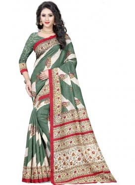 Off White and Sea Green Digital Print Work Contemporary Style Saree