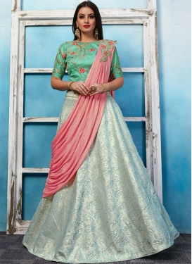 Off White and Sea Green Jacquard Designer Lehenga Choli