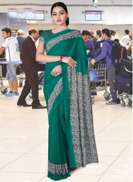 Off White and Sea Green Print Work Designer Contemporary Style Saree