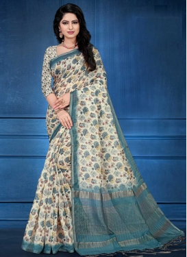 Off White and Teal Digital Print Work Trendy Saree