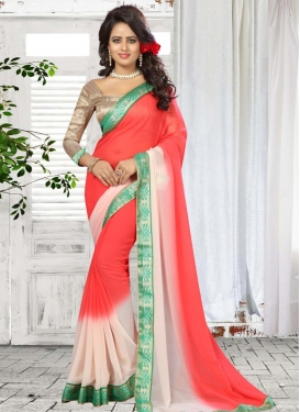 Off White and Tomato  Traditional Saree
