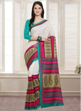Off White and Turquoise Embroidered Work Contemporary Saree
