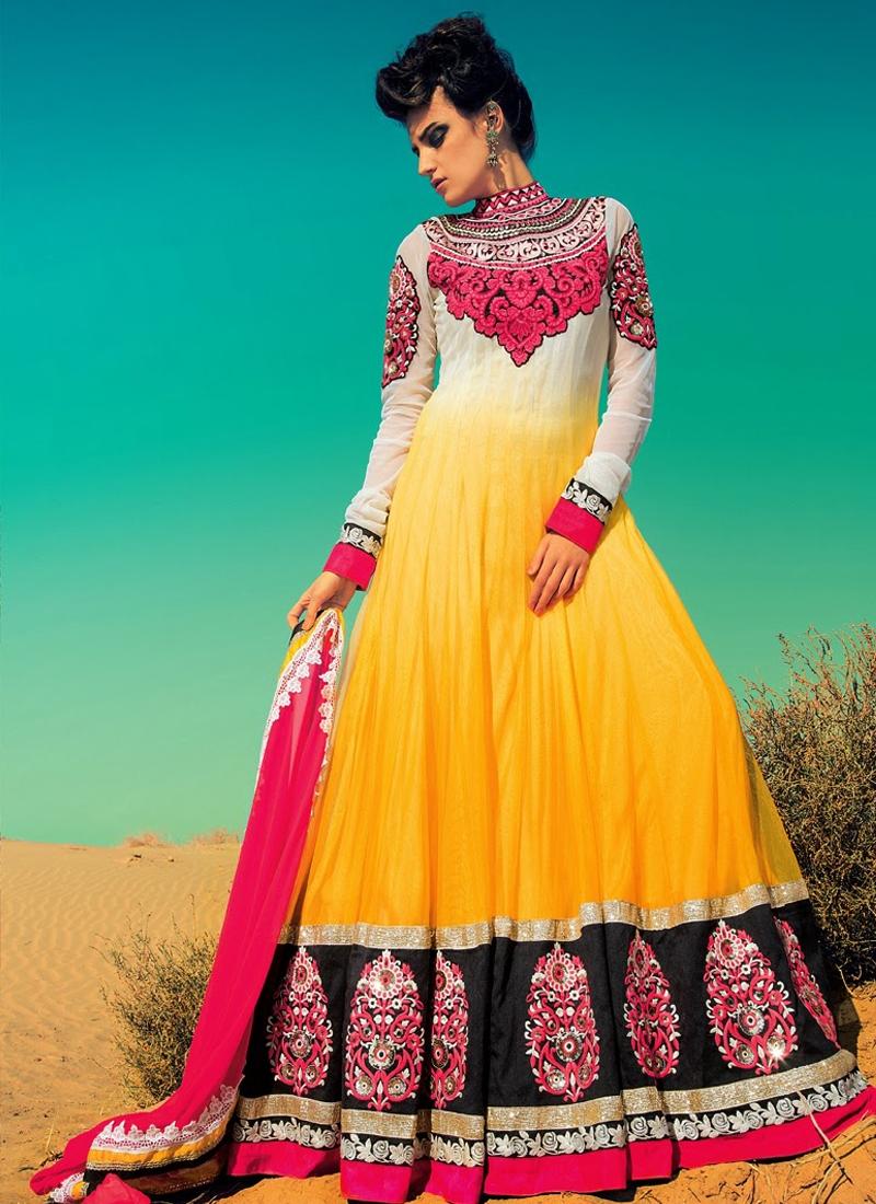 Off White And Yellow Color Anarkali Salwar Kameez