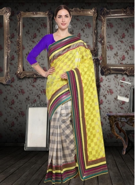 Off White and Yellow Half N Half Saree