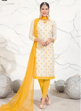 Off White and Yellow Trendy Suit For Casual