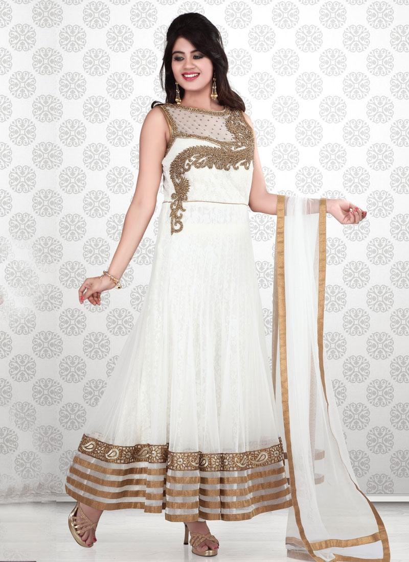 467e373295 Off White Color Net Floor Length Readymade Anarkali Salwar Kameez