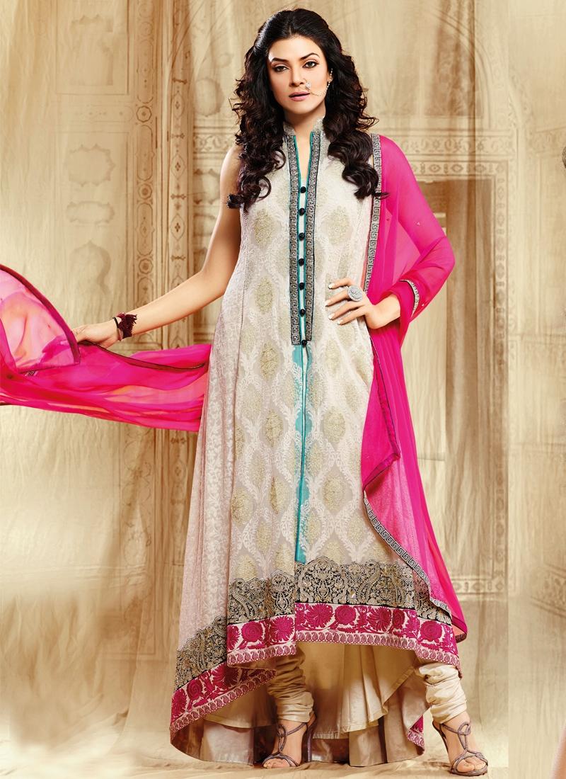 Off White Sushmita Sen Bollywood Salwar Kameez