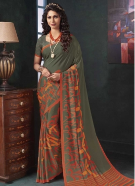 Olive and Orange Digital Print Work Contemporary Style Saree