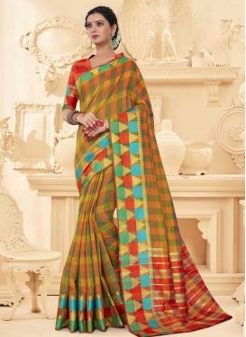 Olive and Orange Thread Work Contemporary Saree