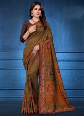 Olive and Orange Trendy Saree