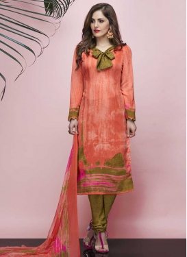 Olive and Peach Crepe Silk Trendy Churidar Suit