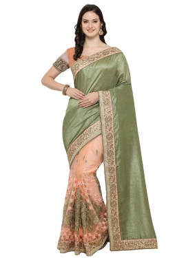 Olive and Peach  Half N Half Designer Saree