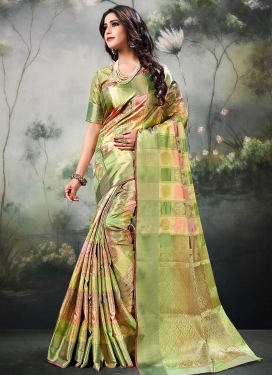 Olive and Peach Thread Work Trendy Classic Saree
