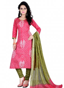 Olive and Pink Bandhej Print Work Churidar Punjabi Salwar Suit