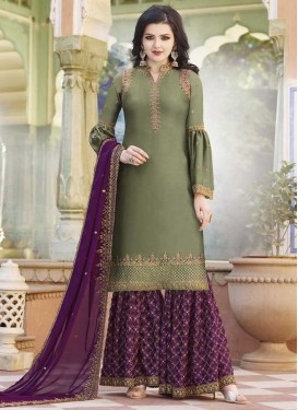 Olive and Purple Embroidered Work Sharara Salwar Kameez