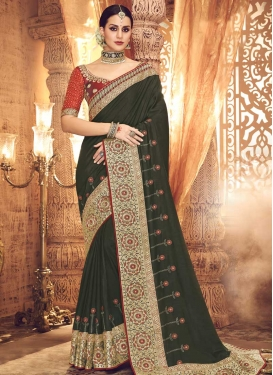 Olive and Red Art Silk Contemporary Style Saree