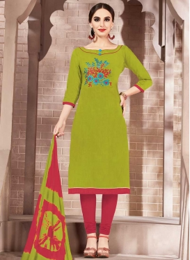 Olive and Red Churidar Salwar Suit