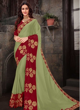 Olive and Red Designer Traditional Saree
