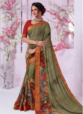 Olive and Red Digital Print Work Contemporary Style Saree