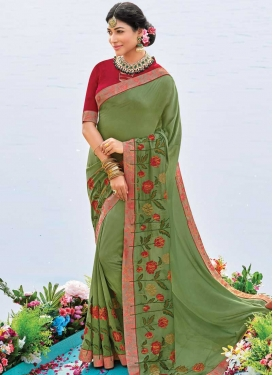 Olive and Red Embroidered Work Designer Contemporary Style Saree