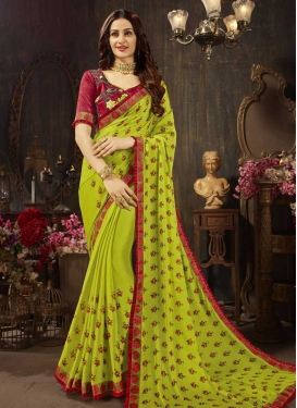 Olive and Red Embroidered Work Silk Georgette Traditional Saree