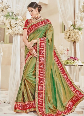 Olive and Red Lace Work Classic Saree