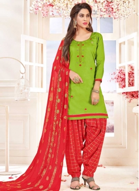 Olive and Red Semi Patiala Salwar Kameez