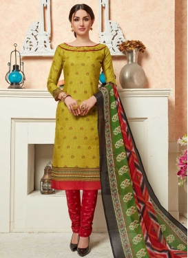 Olive and Red Trendy Churidar Salwar Kameez For Casual